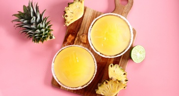 Pineapple Cocktail on Pink Background