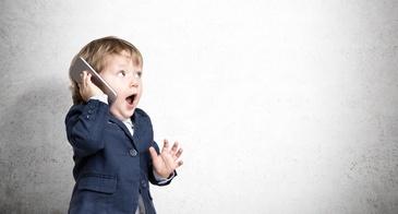 Little Boy Blazer Pretends Talk Cell Phone