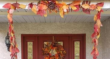 fall garland on porch