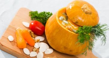 pumpkin as a soup bowl