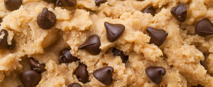 Up close cookie dough with chocolate chips