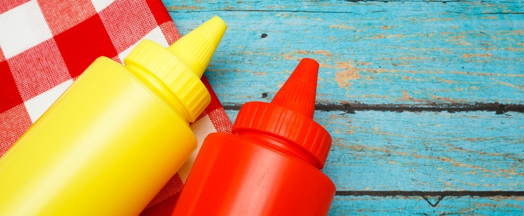 Red bottle of ketchup and yellow bottle of mustard on a picnic table.