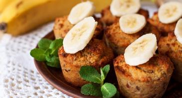 Bananas Muffins With Fresh Bananas on Top