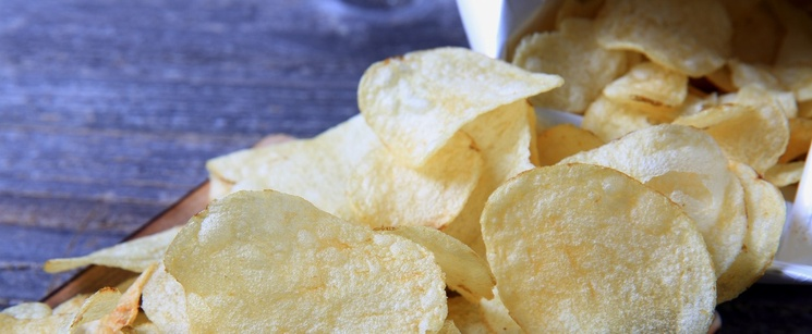 Potato chips on a platter