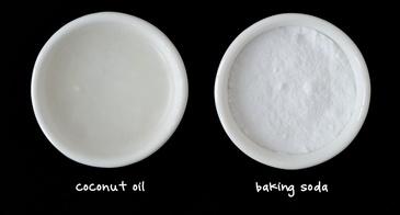 Homeade Face Mask Ingredients Coconut Oil Baking Soda Black Background