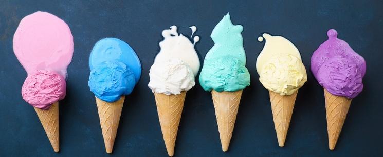 Ice Cream Cones Melting on Dark Background